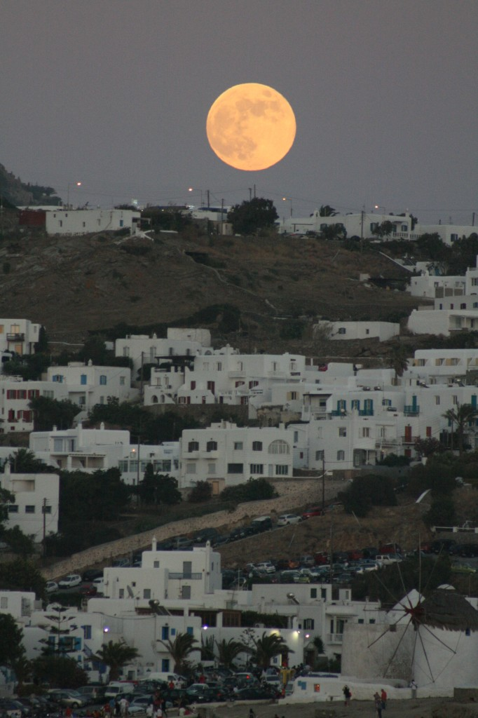Full moon over Mykonos Greece