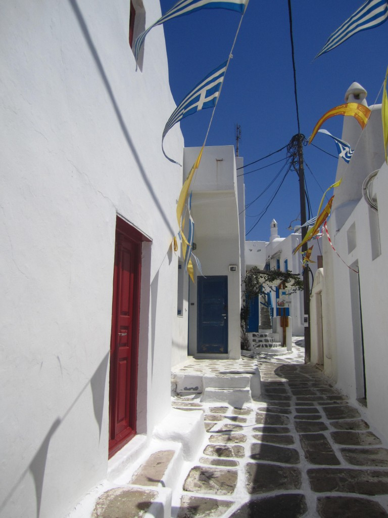 Mykonos White stone alley