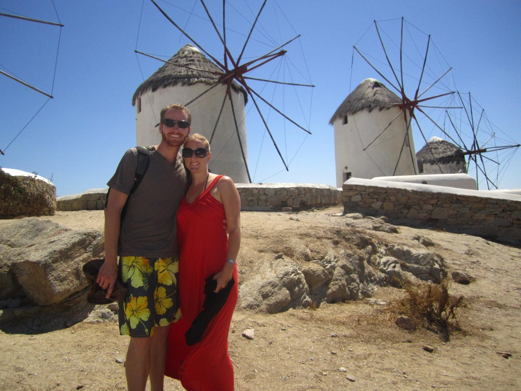 Forget Someday Travel Blog couple Mykonos Windmills