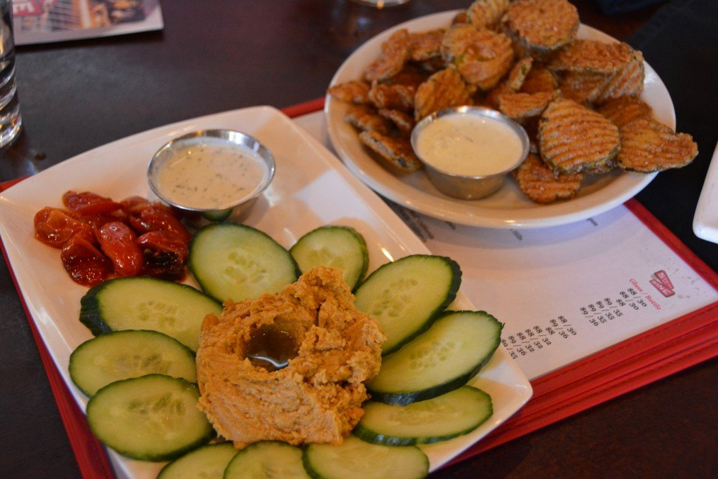 Fried pickles and sliced cucumbers