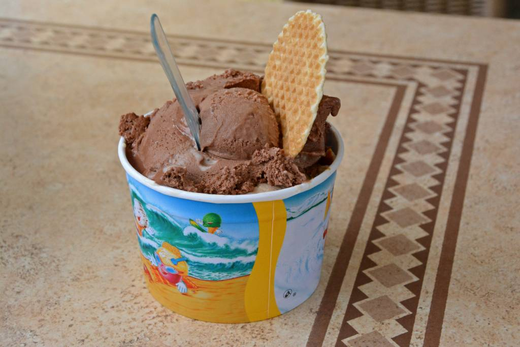 Chocolate ice cream with wafer