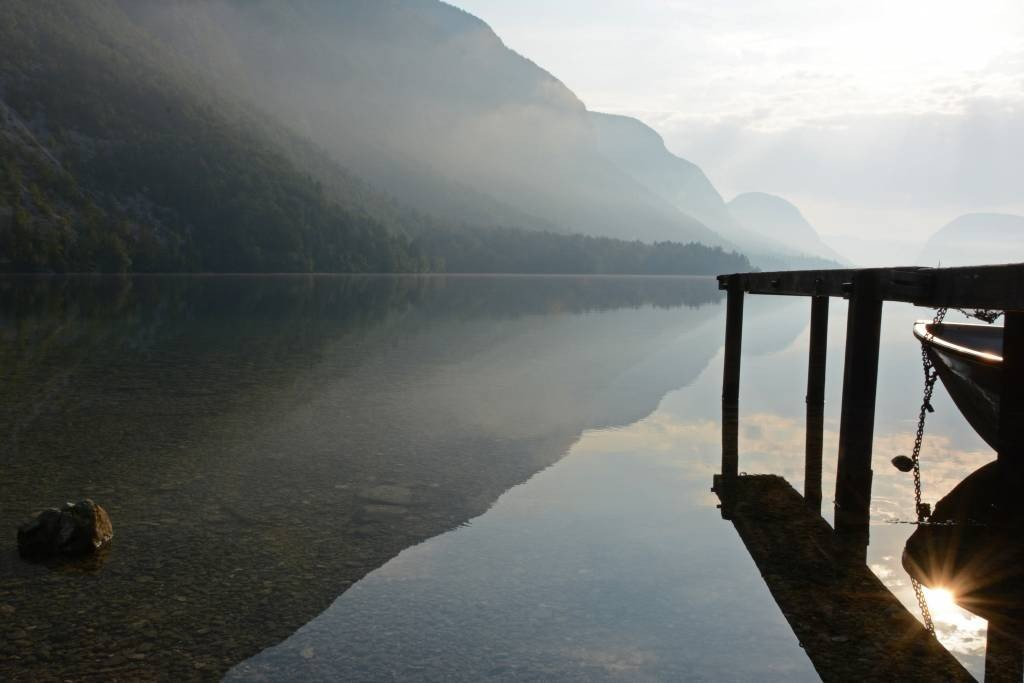 Lake Bohinj just after sunrise