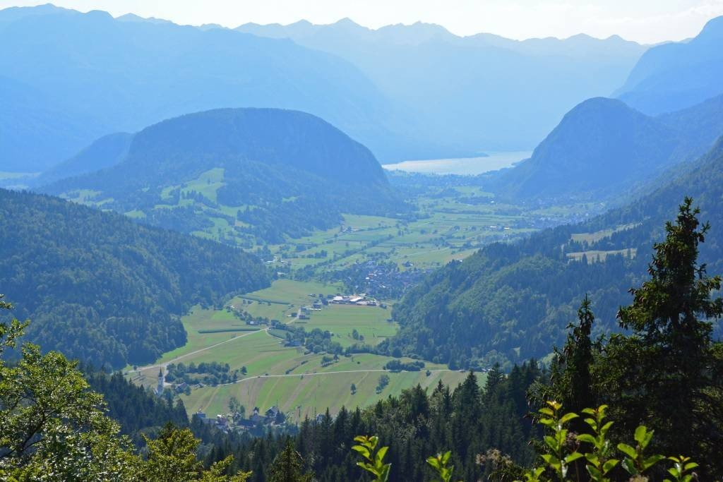 View of Upper Bohinj Valley and Lake Bohinj from Vodnikov Razglednik panoramic site