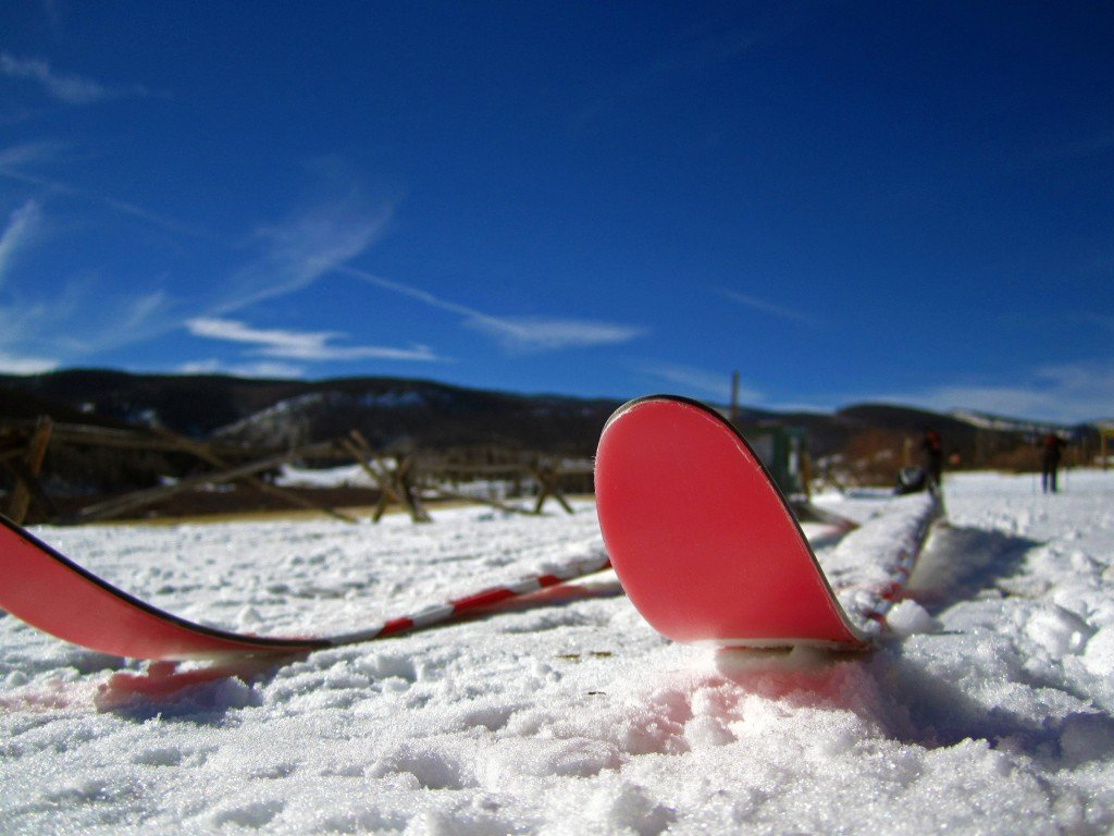 Cross Country Skiis in the snow