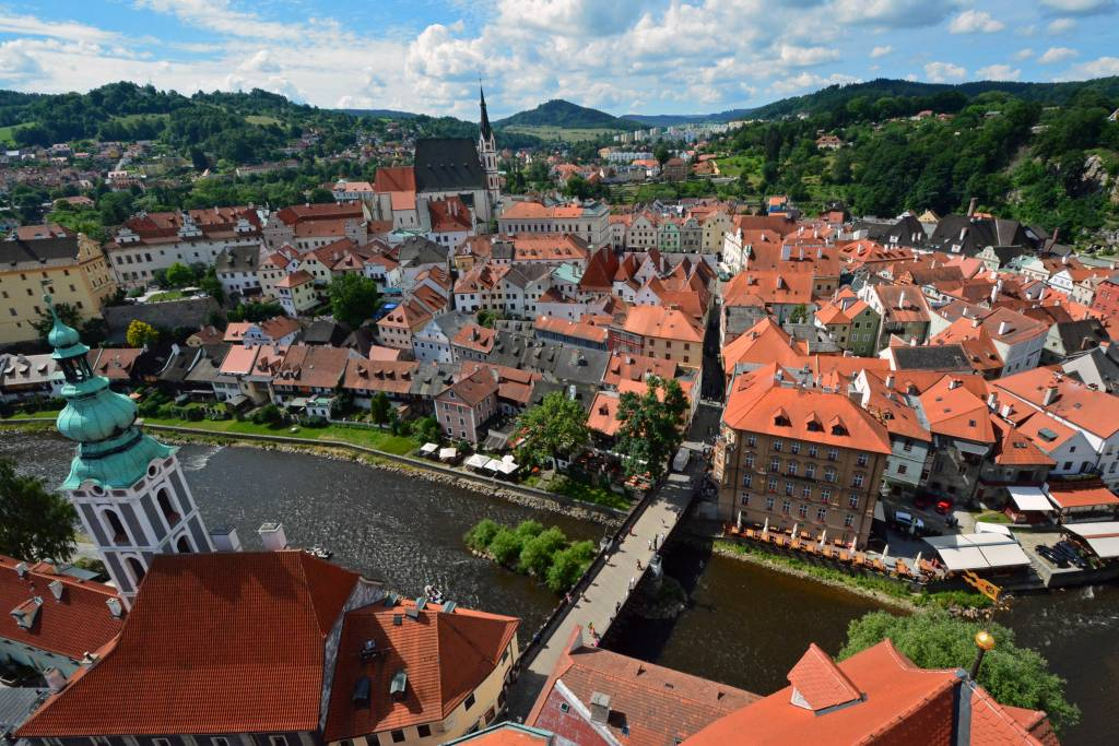 View of Cesky Krumlov from castle tower