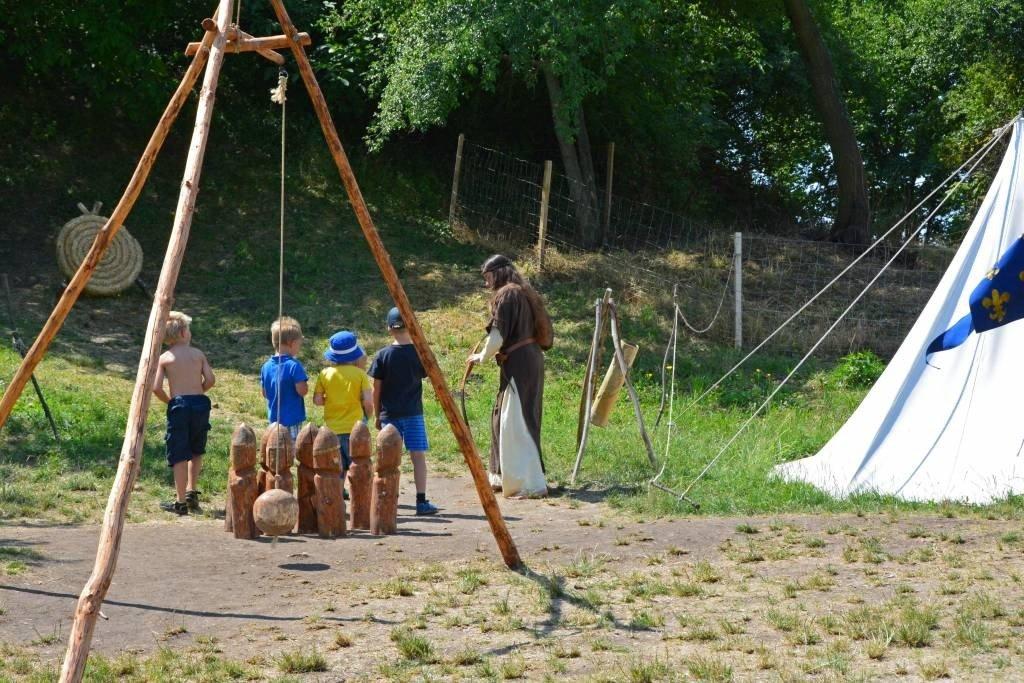 Children practice archery