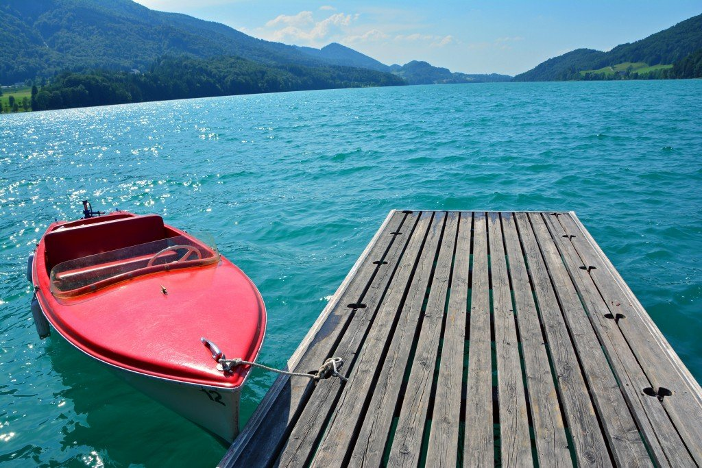Electric boat at dock Fuschl am See Austria