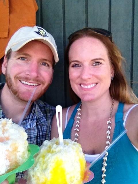 couple with shave ice kauai