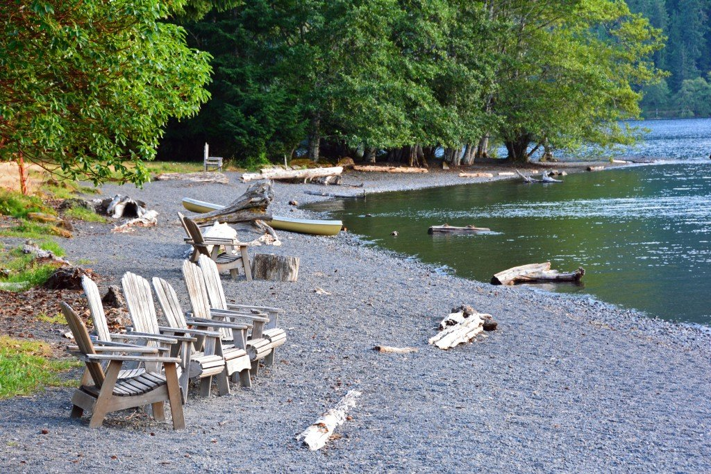 Lake shore wooden chairs