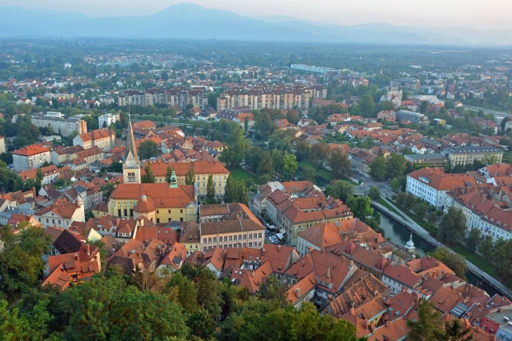 View from Ljubljana Castle Outlook Tower at Sunset