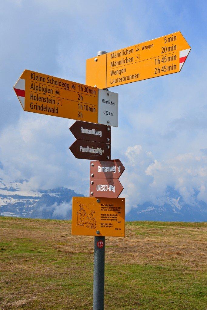 Kleine Scheidegg trail sign