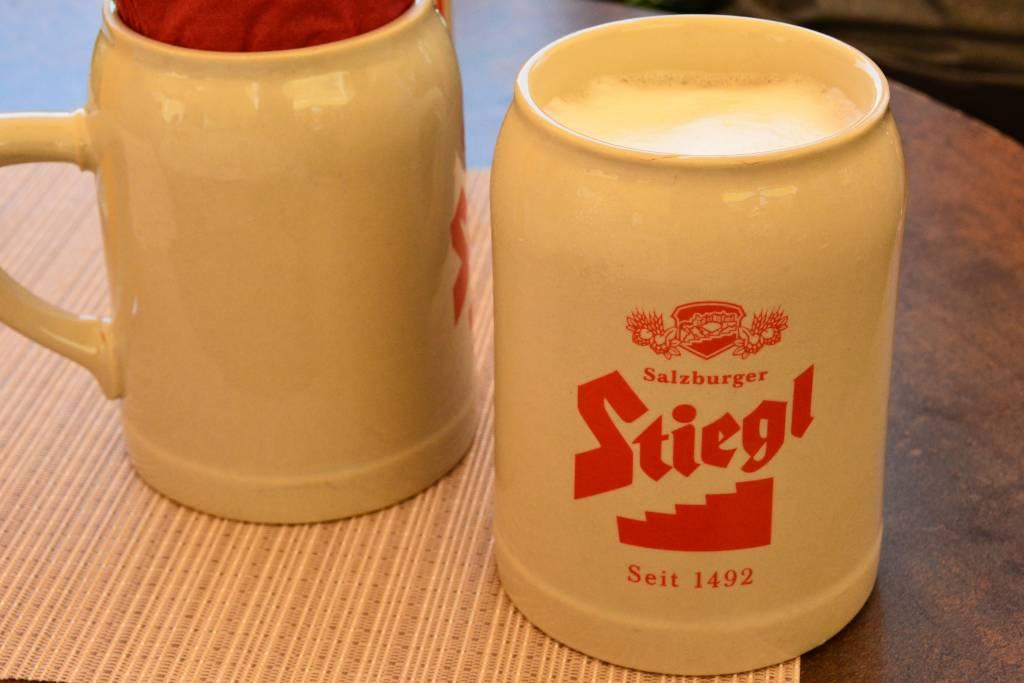 Stiegl beer in ceramic stein