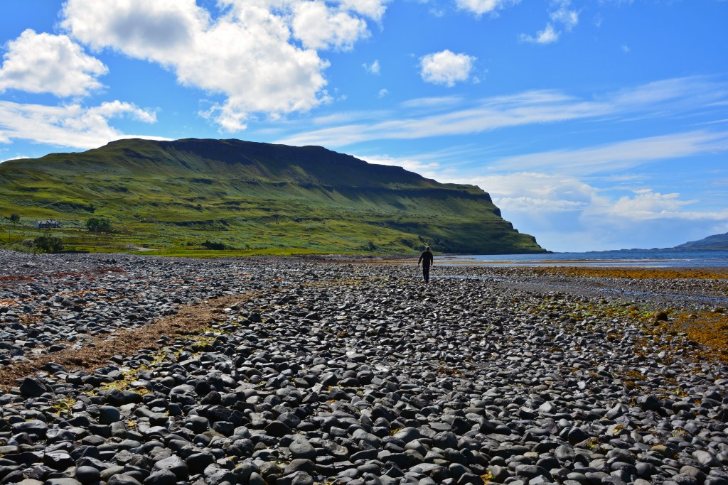 Walking on rocky shore of Isle of Mull