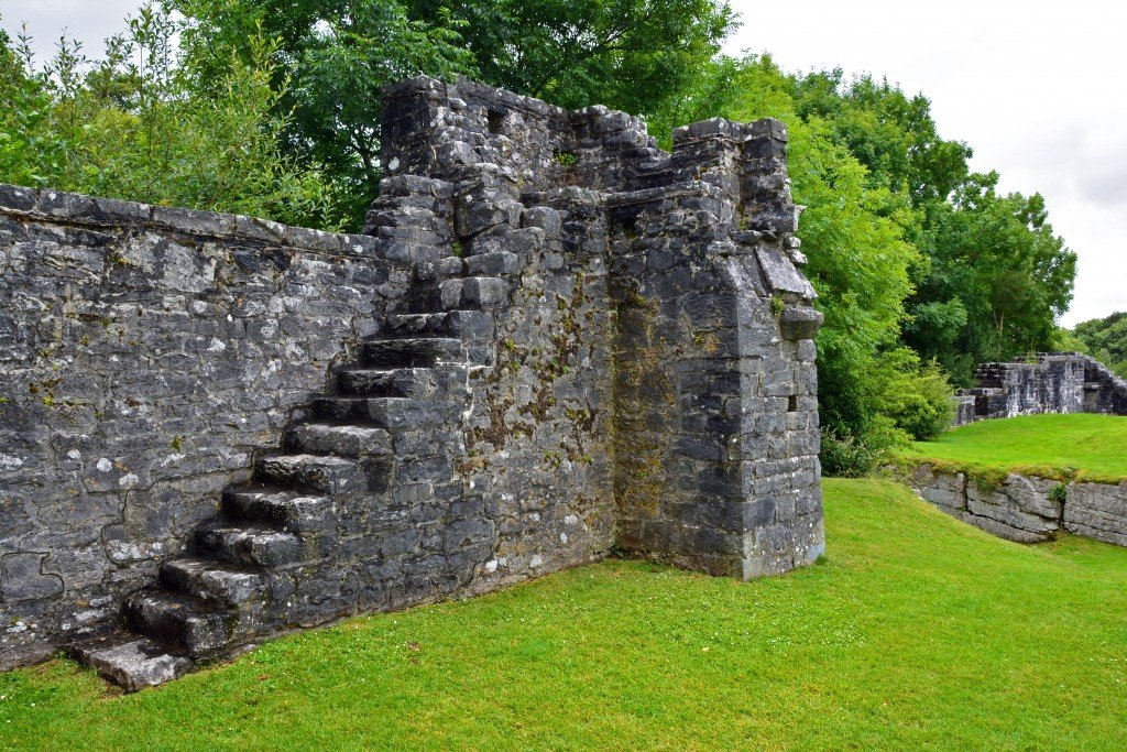 Old worn stone castle stairs