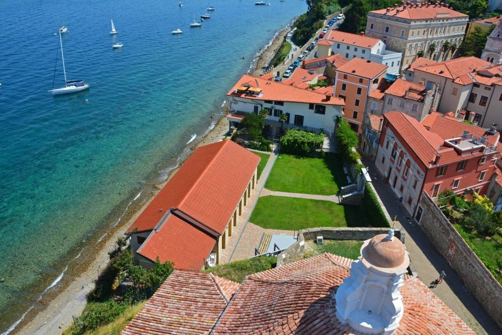 View from bell tower Piran Slovenia