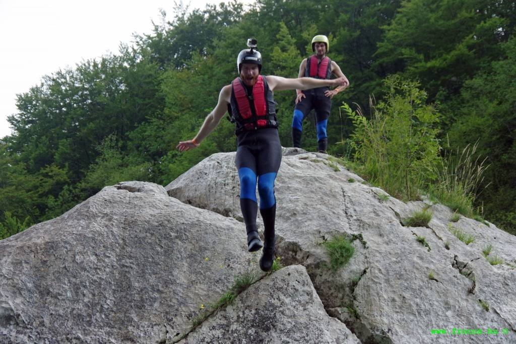 Jumping of rock into Soca River