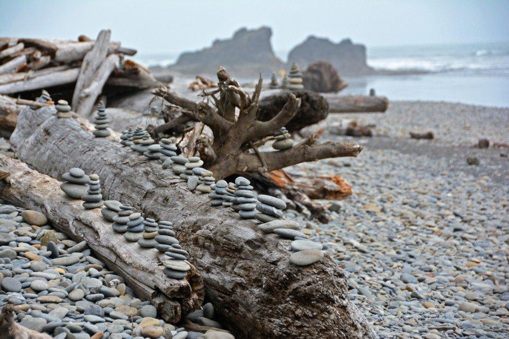 Stacked Rocks Ruby Beach Olympic Peninsula Washington