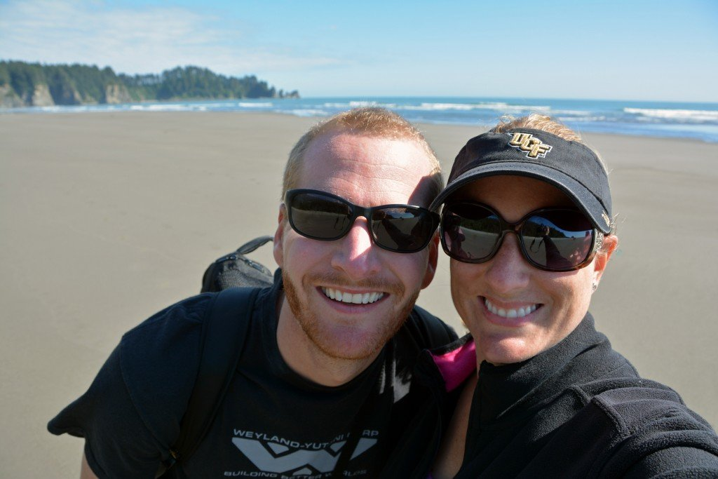 Forget Someday Travel Blog couple at Second Beach Olympic Peninsula Washington