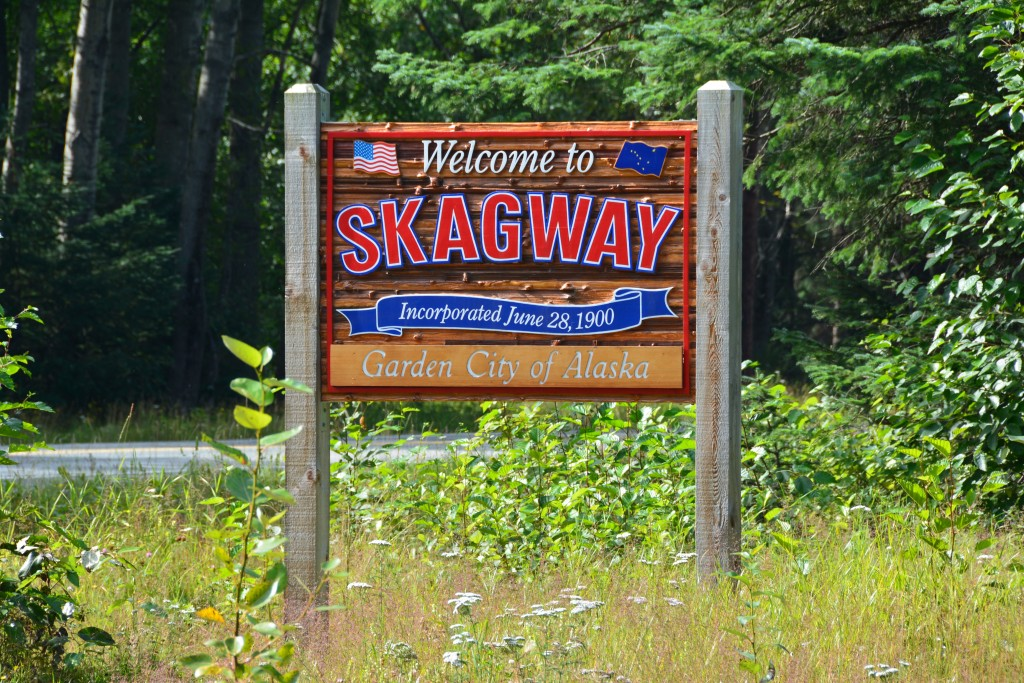 Skagway Alaska welcome sign