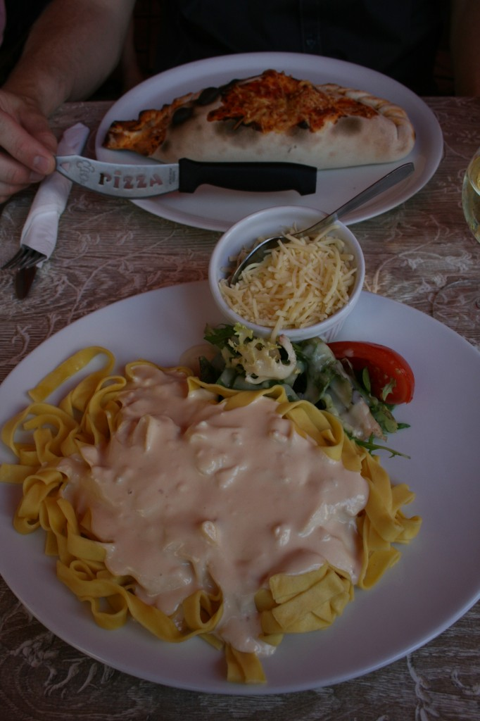 Tourist meal pasta and calzone