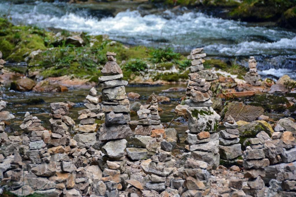 Stacked Rocks at Vintgar Gorge