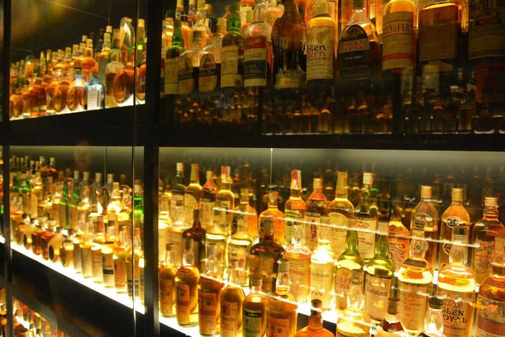 Lots of whisky bottles