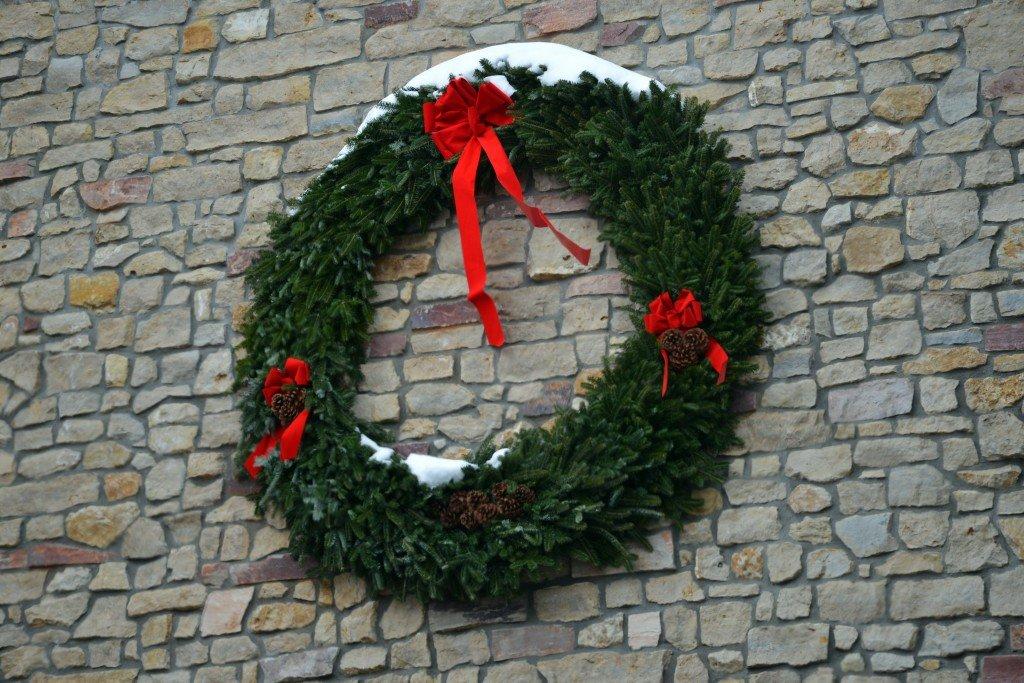 Wreath with snow