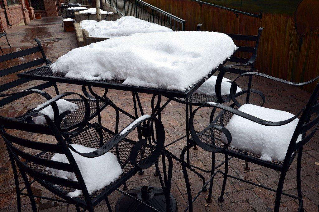 Snow on a cafe table Colorado