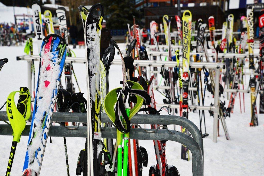 Ski equipment on racks